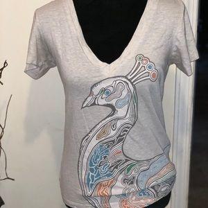 Earthbound v-neck peacock t-shirt, large